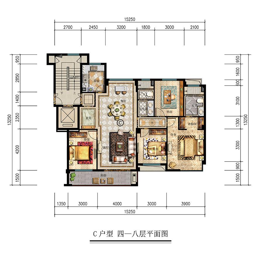 c户型 四一八层平面图