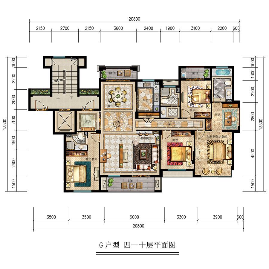G户型 四一十层平面图